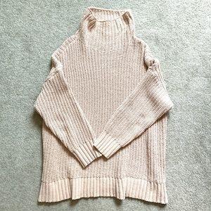 Aerie chenille oversized turtleneck sweater pink